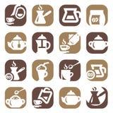 Van de kleurenkoffie en thee geplaatste pictogrammen Royalty-vrije Stock Afbeeldingen