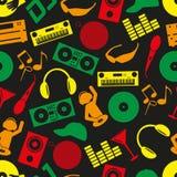 Van de kleurenpictogrammen van DJ van de muziekclub het naadloze patroon Stock Afbeelding