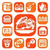 Van de kleurenvoedsel en keuken pictogrammen Stock Afbeelding