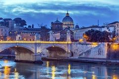 Van de Koepeltiber van Vatikaan van de Rivierponte de Brug Rome Italië Royalty-vrije Stock Afbeelding