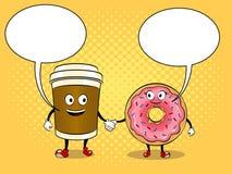 Van de koffiekop en doughnut pop-artvector Stock Foto's