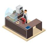 Van de koffiewinkel of Bar Teller en Barista Isometric View Vector royalty-vrije illustratie