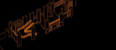 Van de kolomvensters van de architectuur binnenlandse trede van het het elementenontwerp van het het concepten 3d perspectief axo vector illustratie