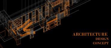 Van de kolomvensters van de architectuur binnenlandse trede van het het elementenontwerp van het het concepten 3d perspectief ora vector illustratie