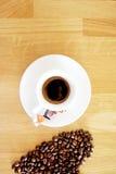 Van de kopespressoo van de koffiedrank hete het aromacafeïne, het de koffieo ` klok van ` s, houd ik van Coffe, Goedemorgen, drin Stock Foto's