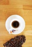 Van de kopespressoo van de koffiedrank hete het aromacafeïne, het de koffieo ` klok van ` s, houd ik van Coffe, Goedemorgen, drin Royalty-vrije Stock Foto's