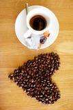 Van de kopespressoo van de koffiedrank hete het aromacafeïne, het de koffieo ` klok van ` s, houd ik van Coffe, Goedemorgen, drin Stock Foto