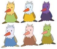 Van de de krabbelkleur van het drukbeeldverhaal hand van het de kippen trekt de vastgestelde monster stock illustratie