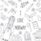 Van de de krabbellijn van Noorwegen het vectormalplaatje stock illustratie