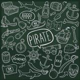 Van de Krabbelpictogrammen van het piraatavontuur Traditionele de Schetshand - gemaakte Ontwerpvector vector illustratie