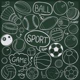 Van de Krabbelpictogrammen van sportballen Traditionele de Schetshand - gemaakte Ontwerpvector royalty-vrije illustratie