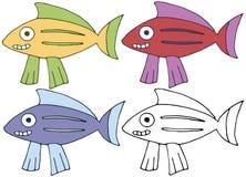 Van de krabbelvissen van het drukbeeldverhaal trekt de de kleuren vastgestelde hand gelukkig monster stock illustratie