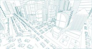Van de Kruisingsopstoppingen van de stadsstraat de weg 3d tekening De blauwe van de de contourstijl van het lijnenoverzicht menin stock illustratie