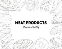 Van de de Kwaliteitsbanner van de vleeswarenpremie het Malplaatje, het Vlees en de Worstenkader Zwart-witte Hand Getrokken Vector royalty-vrije illustratie