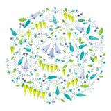 Van de lentebloemen en kruiden vectorsamenstelling Royalty-vrije Stock Foto