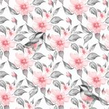 Van de lentebloemen en vogels naadloos patroon vector illustratie