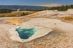 Van de Lentesyellowstone van de Celestinepool het Hete Nationale Park Wyoming Verenigde Staten Stock Foto