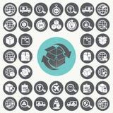 Van de leveringsketen en logistiek geplaatste pictogrammen Stock Fotografie