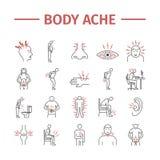 Van de lichaamspijn en Verwonding geplaatste lijnpictogrammen Vectorillustratie voor websites Geneeskundetekens vector illustratie