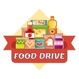 Van de de liefdadigheidsbeweging van de voedselaandrijving het embleem vectorillustratie Stock Afbeelding