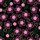 Van de de liefde gouden stijl van het bloem het roze blad groene naadloze patroon royalty-vrije illustratie