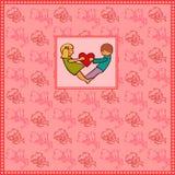 Van de liefdevalentijnskaart roze banner als achtergrond Stock Afbeeldingen
