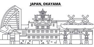 Van de de lijnhorizon van Japan, Okayama de vectorillustratie Japan, lineaire cityscape van Okayama met beroemde oriëntatiepunten royalty-vrije illustratie