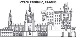 Van de de lijnhorizon van de Tsjechische Republiek, Praag de vectorillustratie Tsjechische Republiek, lineaire cityscape van Praa royalty-vrije illustratie