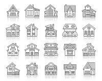 Van de lijnpictogrammen van het huisplattelandshuisje de eenvoudige zwarte vectorreeks vector illustratie