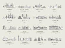 Van de lijnpictogrammen van het land dunne van de de reisvakantie de gidsplaatsen en eigenschappen Grote reeks van van het achter Royalty-vrije Stock Fotografie