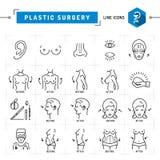 Van de lijnpictogrammen van het plastische chirurgieconcept de Zwarte dunne Vector Medische symbolen Stock Foto's