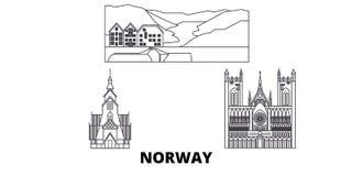 Van de de lijnreis van Noorwegen de horizonreeks Van de het overzichtsstad van Noorwegen de vectorillustratie, symbool, reisgezic vector illustratie