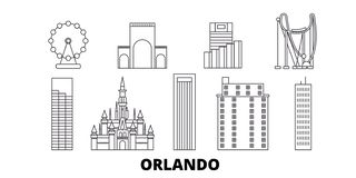 Van de de lijnreis van Verenigde Staten, Orlando de horizonreeks Van de het overzichtsstad van Verenigde Staten, Orlando de vecto vector illustratie