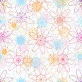 Van de de lijnstraal van bloemmandala het kleurrijke naadloze patroon Royalty-vrije Stock Foto's