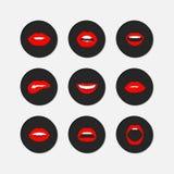 Van de lippengebaren van de vrouw het pictogramreeks Royalty-vrije Stock Foto's