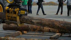 Van de logboeklader of bosbouw verse de besnoeiingslogboeken van machinebewegingen voor lading stock footage