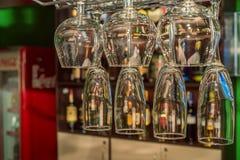 Van de luxewijn en champagne glazen Stock Foto's