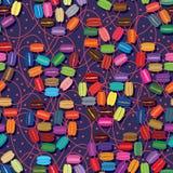 Van de Macaronliefde naadloos patroon als achtergrond Stock Fotografie