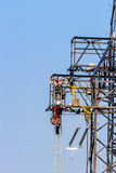 Van de machtslijn en elektriciteit pylonen Stock Afbeelding