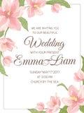 Van de magnoliasakura van de huwelijksuitnodiging de hoekkader vector illustratie