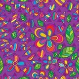 Van de de manierdriehoek van de bloemstijl het purpere naadloze patroon Royalty-vrije Stock Foto