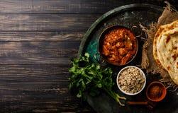 Van de masala kruidig kerrie van kippentikka het vleesvoedsel met rijst Royalty-vrije Stock Afbeeldingen