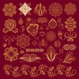 Van de mehndibloem van de hennatatoegering bruine van het de krabbel sier decoratieve Indische ontwerp mhendi van het patroonpais Stock Afbeeldingen