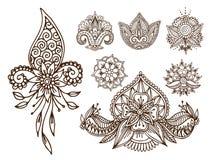 Van de mehndibloem van de hennatatoegering van het de krabbel sier decoratieve Indische ontwerp van het patroonpaisley mhendivers stock illustratie