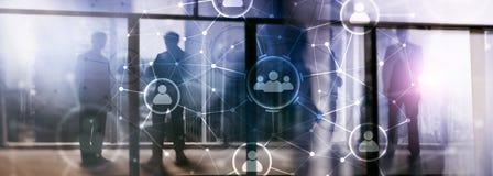 Van de mensenrelatie en organisatie structuur Sociale Media Bedrijfs en communicatietechnologieconcept stock foto