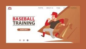 Van de mensenvangers van de honkbal de vector landende webpagina sportkleding en de beslagen baseballbat of bal voor de concurren royalty-vrije illustratie