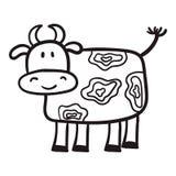 Van de met de hand geschilderde koe in een beeldverhaalstijl, de primitieve onderwerpen van landbouw, zwarte contour op witte ach Stock Afbeelding