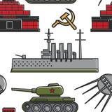 Van de de militaire uitrustingarchitectuur en technologie van de USSR naadloos patroon royalty-vrije illustratie