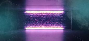 Van de Mistsc.i van de neon Gloeiend Rook de Clubstadium van FI Futuristisch Retro met Leeg Aangestoken Purper Blauw Berijpt Glas stock illustratie