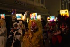 Van de morgestraichparade van Bazel Carnaval 2019 de fluitspelers royalty-vrije stock fotografie
